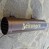 Zeitungsrolle aus Metall Farbe: Kupfer / Bronce / Braun mit Verschlussgitter Einwurf: Seite wechselbar