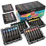ARTEZA Acrylfarben | Set mit 60 Tuben | 22 ml Malfarbe Pro Tube | Hochwertige Acryl-Künstlerfarbe | Ideal zum Malen auf Leinwänden