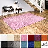 Shaggy-Teppich | Flauschige Hochflor Teppiche fürs Wohnzimmer, Esszimmer, Schlafzimmer oder Kinderzimmer | einfarbig, schadstoffgeprüft, allergikergeeignet (Rosa, 40 x 60 cm)