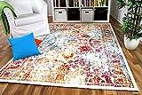 Wohnzimmer Designer Gabbeh Teppich Vintage Orient Bunt Türkis Orange Rot in 4 Größen