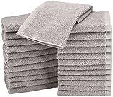 AmazonBasics Waschlappen aus Baumwolle, 24er-Pack - Grau