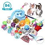 Katzenspielzeug, Focuspet CatToy Katzenspielzeug Set Für Kätzchen Beinhaltet Katzenspielzeug Mäuse Bälle Interaktive Spielzeuge usw. Variety Packung mit 24 Stücke