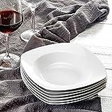 MALACASA, Serie Julia, 6 TLG. Set KLEIN Suppenteller Tiefteller Porzellan 20 x 20 x 3,8 cm für 6 Personen