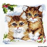 Vervaco PN-0145251 Knüpfkissen Kätzchen im Schnee