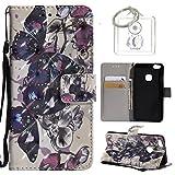 für Huawei P10 Lite (5,2 Zoll) Hülle, Retro 3D Muster PU Leder Hülle Wallet Case Folio Schutzhülle in mit Standfunktion Karteneinschub und Etui Flip Case Schutzhüllen +Schlüsselanhänger (P) (14)