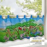 Scheibengardine TIERSAFARI / Frühling-Sommer Gardine mit einem Tiermotiv / 45x120 cm / Moderne blickdichte Bistrogardine für das Kinderzimmer