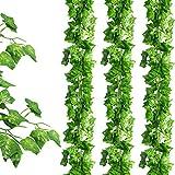 CDWERD 24 Stück Künstliche Grün Fake Efeublatt Efeu Girlanden Ivy Blätterkranz Hängen für Hochzeit Party Garten Wanddekoration