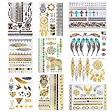Amaza Flash Metallic Tattoos 10 Sheets temporäre tattoos Flash Gold und Silber (Mehrfarbig)