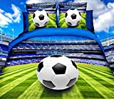 3D Bettwäsche Fussball Stadion Bettbezug 135x200 + 80x80 cm Fußball Ball Sport Grün Blau mit Verschluss