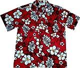 "Hawaiihemd / Hawaiishirt ""Classic Flowers (red)"", 100% Baumwolle, Größe 4XL"