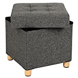 SONGMICS Sitzhocker 38 x 40 x 38 cm Sitztruhe mit Stauraum und Deckel mit Holzfüßen dunkelgrau LSF14GYZ