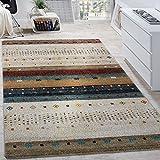 Paco Home Designer Teppich Modern Loribaft Nomaden Muster Gabbeh Optik Beige Creme Meliert, Grösse:160x230 cm