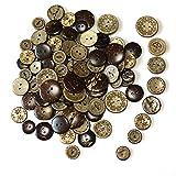 100 Stuck Holzknöpfe Kokosknöpfe,DIY Buttons für Nähen und Handwerk,Für Hemd-Baby-Strickjacken, Brown, 8 Stil