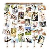Love-KANKEI SHMILY Bilderrahmen Collage Fotorahmen Holzbilderrahmen in Wäscheleinenoptik mit 30 kleinen Holzklammern, ( Ideales Weihnachtsgeschenk)