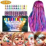 Haarkreide,Haarkreide Kinder,Kinderschminke Set, 12 Farben Haarkreide für kinder, Haartönung & Gesichtsbemalung für Karneval, Party, Weihnachten & Geburtstag,Geeignet für Alle Haarfarben