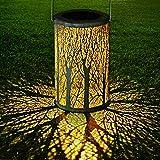 Yokunat LED Solar Laterne für draußen, Solar Garten Hängende Laterne zylinderförmige Nachtlicht Wasserdicht IP44 mit Lichtempfindlichkeit