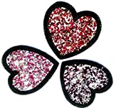Iron on Bügel Strass Glitzer Herz Aufnäher Patches Aufbügler Flicken Sticker Bügelbilder Applikation Set mit Strass ' 3 er Set Strass in rot , dunkelrot und pink Tönen '