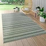 Paco Home In- & Outdoor Teppich Flachgewebe Gecarvt Geometrische Streifen Design In Grün, Grösse:160x230 cm