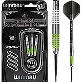 Darts Corner Winmau Ton Machine Dartpfeile, mit Stahlspitze, klassische Doppelringe, Weiß und Grün, 23g, inklusive kurvigen Kugelschreiber