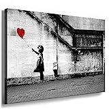 Fotoleinwand24 - Banksy Graffiti Art 'There Is Always Hope' / AA0134 / Bild auf Keilrahmen / Grau / 120x80 cm