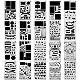 Surblue Schablonenset zum Gestalten von Scrapbooks, Tagebüchern und Notizbüchern und für andere Kunstprojekte, 20 Stück