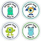 Papierdrachen 24 individuelle Aufkleber für Kinder - Motiv Monster - personalisierte Sticker - Schule Einschulung