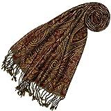 Lorenzo Cana - Luxus Damen Schal aus weicher Wolle aufwändiges Paisley Muster bunt mehrfarbig 35 cm x 160 cm Wollschal Wolltuch Frauenschal Mädchenschal 78405