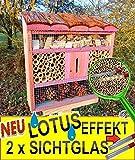 FDV-LOTUS-PINK rosa rosarot rötliches Insektenhotel, mit Lotus-Effekt (Oberfläche WASSERABWEISEND), MIT 2 x SICHTGLAS 8 / 11 mm, komplett mit Zellstoff, Insektenhotels mit Holzrinde-Naturdach, FDV-LOTUS-OS in hellrot PINK, ROSA Schmetterlingskasten Schmetterlinge Schaukasten Insektenhaus - als Ergänzung zum Meisen Nistkasten Meisenkasten oder zum Vogelhaus