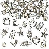 Silberfarbene Schmuckanhänger für Kinder zum Basteln toller Accessoires (90 Stück)