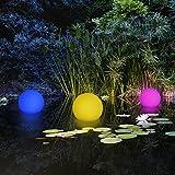 2-in-1 Schwimmkugel / Gartenleuchte Kugel mit LED Beleuchtung / kabellos / Solar / schwimmfähig / 8 Farben / optionaler Farbwechsel / Ø 30cm / IP67 / RGB / Kugel Solarlampe / Dekoleuchte / Außenleuchte / Gartenlampe / Dekokugel / Leuchtkugel / Kugelleuchte / Solarleuchte