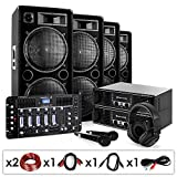 DJ PA Set Bass First Pro Bluetooth 2x Amp 4x Boxen Mixer 4000W
