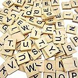 Goldge 100 Stück Scrabble Buchstaben Holz Buchstabe Fliesen Zum Spielen, Lesen für Vorschule Kinder Bildung,DIY Handwerk Dekoration