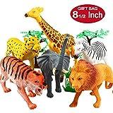 Tierfiguren, 20 cm Riesen Dschungel Tier Spielzeug Set (12 Stück), Yeonhatoys Realtische Wilde Vinyl Tiere für Kinder & Kleinkinder, Plastiktiere Herde Lernmittel Urwald Spielzeuge Spielset
