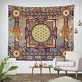Goldbeing indischer Wandteppich Wandbehang Mandala Tuch Wandtuch Gobelin Tapestry Goa Indien Hippie-/ Boho Stil als Dekotuch /Tagesdecke indisch orientalisch psychedelic (150 x 130cm, Rechteck)