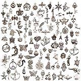 JuanYa 100 Teile gemischte Charms versilbert DIY Halskette Armband Anhänger für Schmuckherstellung