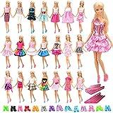 Miunana 60 Stück Kleider, 20 Kleidung +20 Paar Schuhe + 20 Kleiderbügel, Röcke Puppenzubehör Outfit für Barbie Puppen Doll