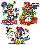 KARNEVALS-GIGANT Deko-Clowns | 3er Set | Wandmasken-Clowns für Karneval Fasching Dekoration