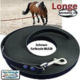 Longe Longierleine für Pferde 16mm aus Beta BioThane, Pferdelonge für Reitsport, 8 Meter lang in Schwarz