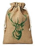 organzabeutel24 | 1 Jutesack, Jutebeutel mit Baumwollkordel und aufgedrucktem Hirschmotiv, Dekoration u. Geschenkverpackung (100 x 60 cm)