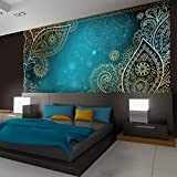 murando - Fototapete 300x210 cm - Vlies Tapete - Moderne Wanddeko - Design Tapete - Wandtapete - Wand Dekoration - Orient Ornament bokeh grau gold blau türkis f-A-0146-a-b