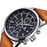 Chronograph Uhr Herren mit Luxus Wasserdicht Business Analog Quarz Schwarz Zifferblatt Armbanduhr für männer Leder Band Braun