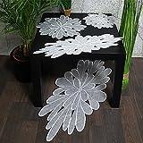 Tischdecke Tischläufer Deckchen weiss Motiv Blüte rund und oval leicht organza (25 cm rund)