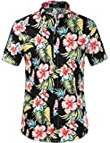 SSLR Herren Hawaiihemd Kurzarm Blumen 3D Gedruckt Baumwolle Freizeithemd Button Down Aloha Shirt für Reise Strand (Medium, Schwarz Hibiskus)