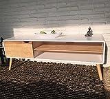 Sideboard Lowboard TV Konsole Kommode Fernsehschrank Holz natur weiß 140 x 40 x 50 cm mit 2 Ablagen inkl. Kabelführung und Tür