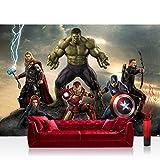 Vlies Fototapete 416x254cm PREMIUM PLUS Wand Foto Tapete Wand Bild Vliestapete - Jungen Tapete Marvel AVENGERS Hulk Iron Man Thor Captain America Cartoons bunt - no. 1279