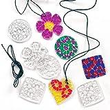 Kette mit Acryl-Anhängern 'Mosaik-Kristalle' - Halskette - Schmuck für Kinder zum Basteln - 12 Stück