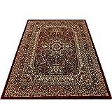 Orientteppich Wohnzimmer Klassische Optik Orientalisch Ornamente Rot Schwarz, Maße:120x170 cm