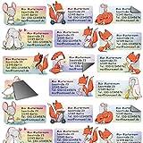 Adress-Etiketten - Adress-Aufkleber Sticker Fuchs Set mit Ihrem Wunschtext, ca. 72 x 35 mm, für 1 bis 5 Zeilen Text (Füchse, 24 Stück (1 x A4 Bogen))