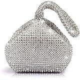 J&G dreieckige Rhinestone Strass Damen Unterarmtasche Abendhandtasche Party Tasche Hochzeit Handtasche (Silber)