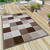 VIMODA Robuster Flachgewebe Teppich In- und Outdoor Tauglich 100% Polypropylen, Farbe:Braun, Maße:120 x 170 cm
